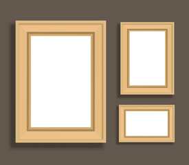 Realistic frames for picture. Wooden realistic frames set on dark background. Vector stock.