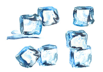 Ice cubes isolated on white background compositions set. Watercolor hand drawn illustration