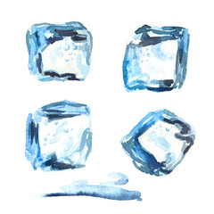 Ice cubes isolated on white background set. Watercolor hand drawn illustration