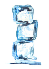 Ice cubes isolated on white background vertical composition. Watercolor hand drawn illustration