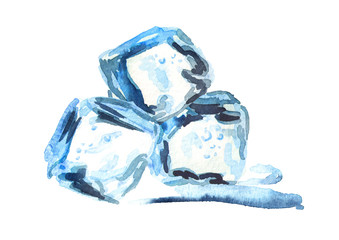 Ice cubes isolated on white background. Watercolor hand drawn illustration