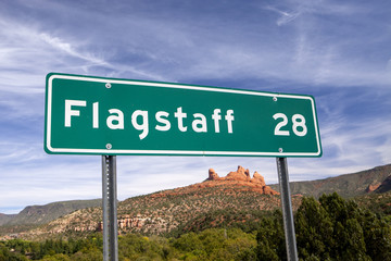 A destination sign showing the way to Flagstaff Arizona