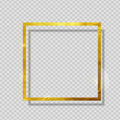 Gold Paint Glittering Textured Frame on Transparent Background. Vector Illustration