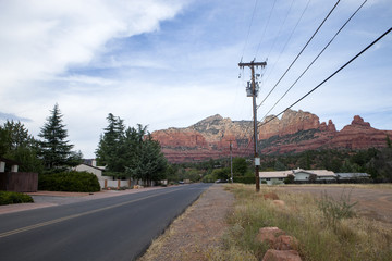 The electrical wires along the side of the road in Sedona