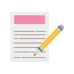 colorful paper document with pencil tool design