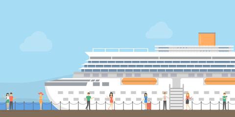 Cruise ship at port.