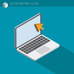 ordinateur portable icône 3D isométrique - laptop 3D isometric web icon