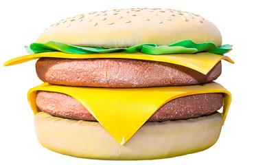 Big soft toy burger isolated on white background