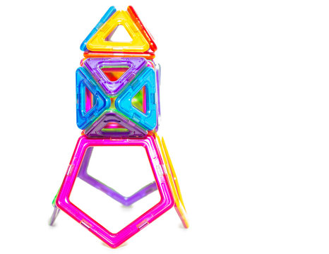Multi-colored children's toy of interlocking plastic details