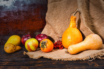 Autumn harvest of red apples, pear, pumpkins lying on linen cloth