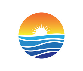 sun beach ocean wave  vector logo design
