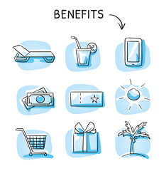 Set with benefits and bonus reward icons, holiday and shopping voucher, as money bills, gift, phone, palm and cart. Hand drawn sketch vector illustration, blue marker coloring on single blue tiles.