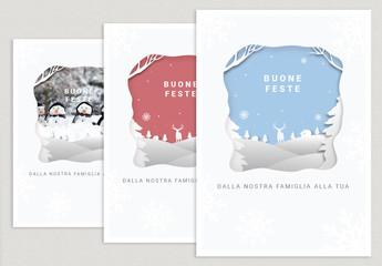 Layout per cartolina con sagoma di carta ritagliata per le feste