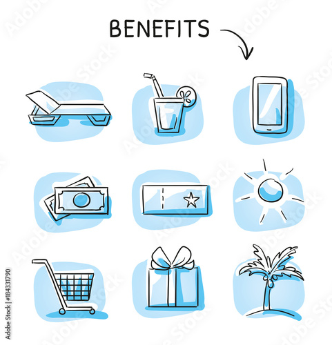 Set with benefits and bonus reward icons holiday and shopping voucher as money bills