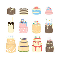 Colorful cakes set.