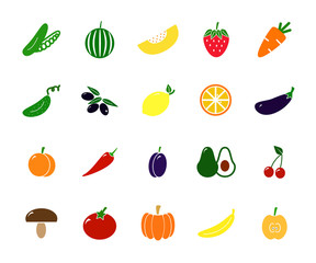Set of colored vegetable icons. Tomato, eggplant, apple, lemon, cucumber, strawberry and more.
