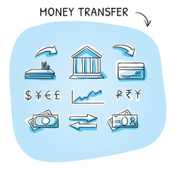 Set with money and bank transfer icons, different icons for currency, deposit, credit card, bills and stock market. Hand drawn sketch vector illustration, blue marker coloring on blue background.