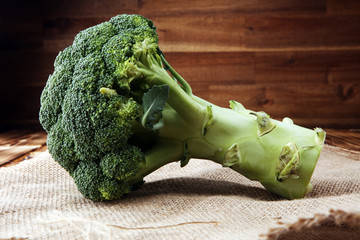 Fresh organic broccoli very delicious on wooden background