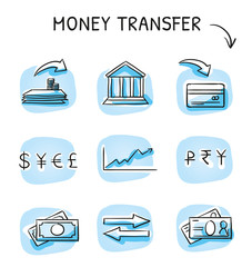Set with money and bank transfer icons, different icons for currency, deposit, credit card, bills and stock market. Hand drawn sketch vector illustration, blue marker coloring on single blue tiles.