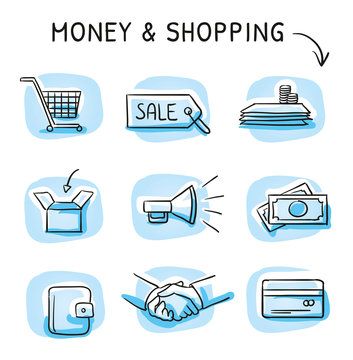 Set with finance and shopping icons, as money, credit card, shaking hands, purse, box, shopping cart, megaphone. Hand drawn sketch vector illustration, blue marker coloring on single blue tiles.