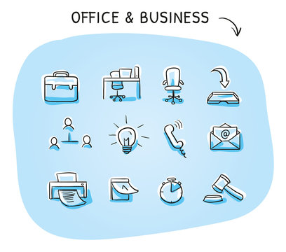 Set with different business and office icons, as chair, desk, light bulb, letter, calendar and watch. Hand drawn sketch vector illustration, blue marker style coloring on single blue background.