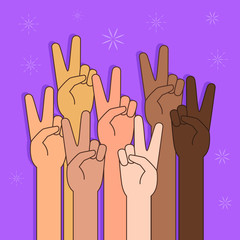 People With Peace or Victory Sign Illustration