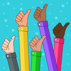 Multi Ethnic Thumbs up Illustration