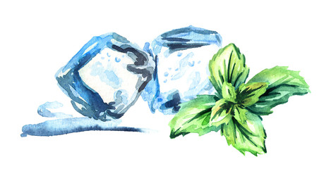 Ice cubes and mint leaves on a white background horizontal watercolor hand drawn illustration