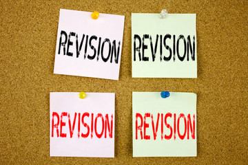 Conceptual hand writing text caption inspiration showing Revision Business concept for Repeat Repetition Education Material for Exam on the colourful Sticky Note close-up