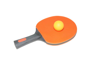 Orange ping-pong paddle with a black wooden handle and yellow tennis ball isolated on white background
