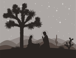 Unusual nativity scene with Joshua tree. Saint family and mountains silhouettes. Vector illustration, Mary, Jesus, and Joseph