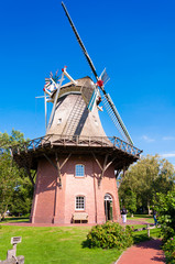 A traditional windmill in Bad Zwischenahn, Germany
