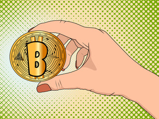 Gold bitcoin in the hand of a woman pop art