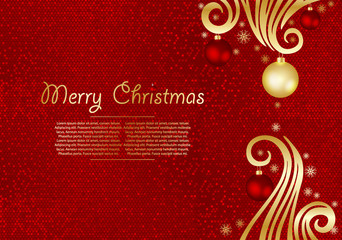 Christmas background with fir branches and gold stars with decorations. Vector illustration