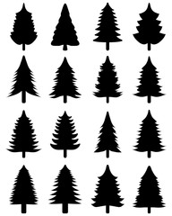 Set of black Christmas trees on a white background