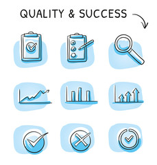 Icon set of quality and rating as growth charts, check lists and a magnifying glass in different variations. Hand drawn sketch vector illustration, blue marker style coloring on single blue tiles.