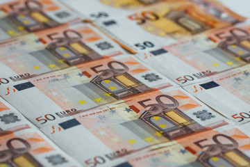 Fifty euro banknote on white background. High resolution photo.