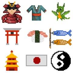 icons japan pixel art