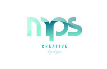 green gradient pastel modern mps m p s alphabet letter logo combination icon design