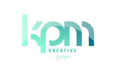 Obraz green gradient pastel modern kpm k p m alphabet letter logo combination icon design - fototapety do salonu