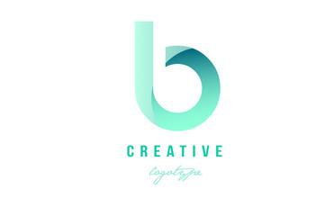 b green pastel gradient alphabet letter logo icon design