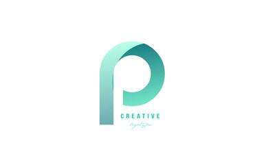 p green pastel gradient alphabet letter logo icon design