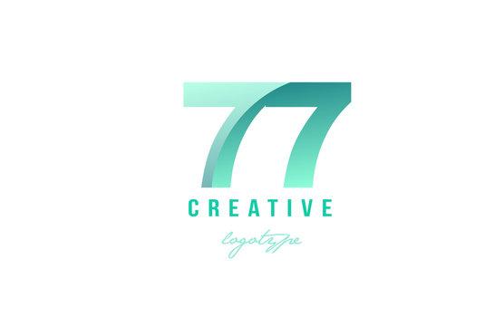 77 green pastel gradient number numeral digit logo icon design