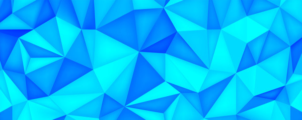 Low poly surface texture, polygonal shapes, turquoise background, blue crystals, triangles mosaic, creative origami wallpaper, templates vector design