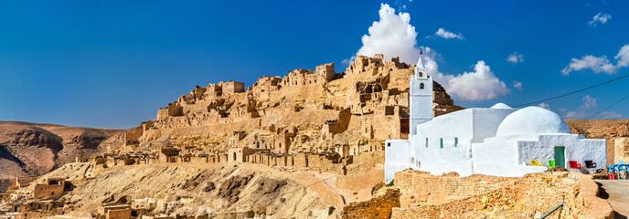 Panorama of Chenini, a fortified Berber village in South Tunisia