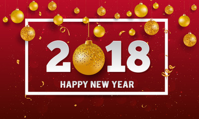 Vector 2018 Happy New Year background with golden christmas ball baubles and stripes elements