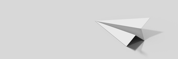 Paper plane isolated on gray, original 3d rendering