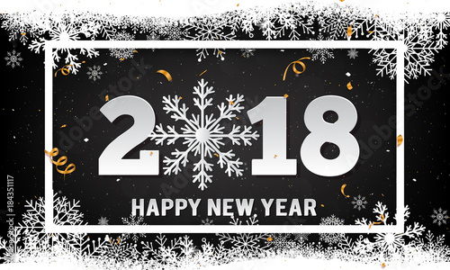 vector 2018 happy new year background with paper art style snowflake and snowflake white border