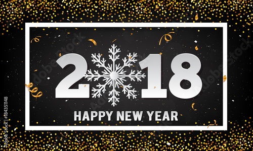vector 2018 happy new year background with gold glitter and paper art style snowflake