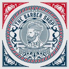 Vintage logo. Barbershop theme